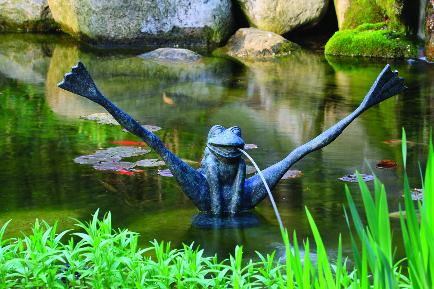 Whiz q stone crazy legs frog spitter w pump for Ornamental pond waterfall